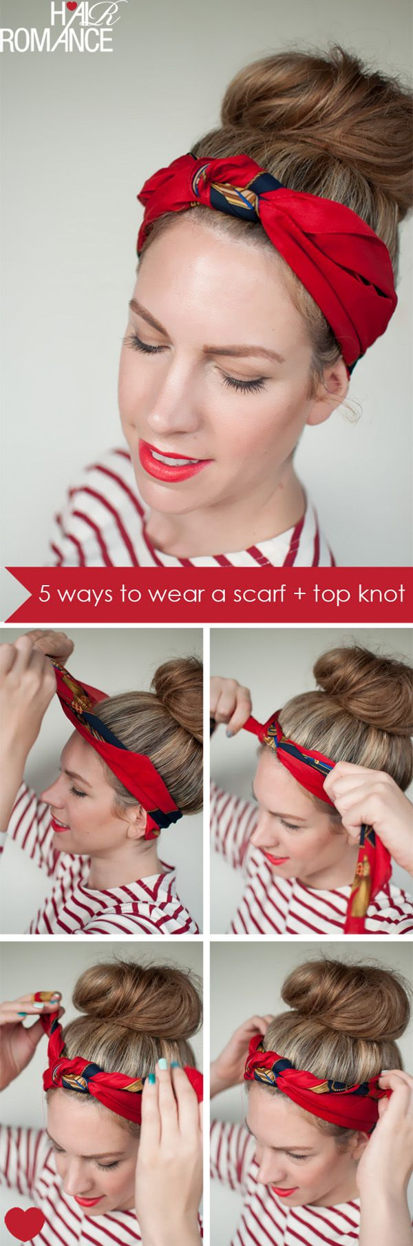 Ways To Wear A Scarf And A Top Knot  Knot Headband