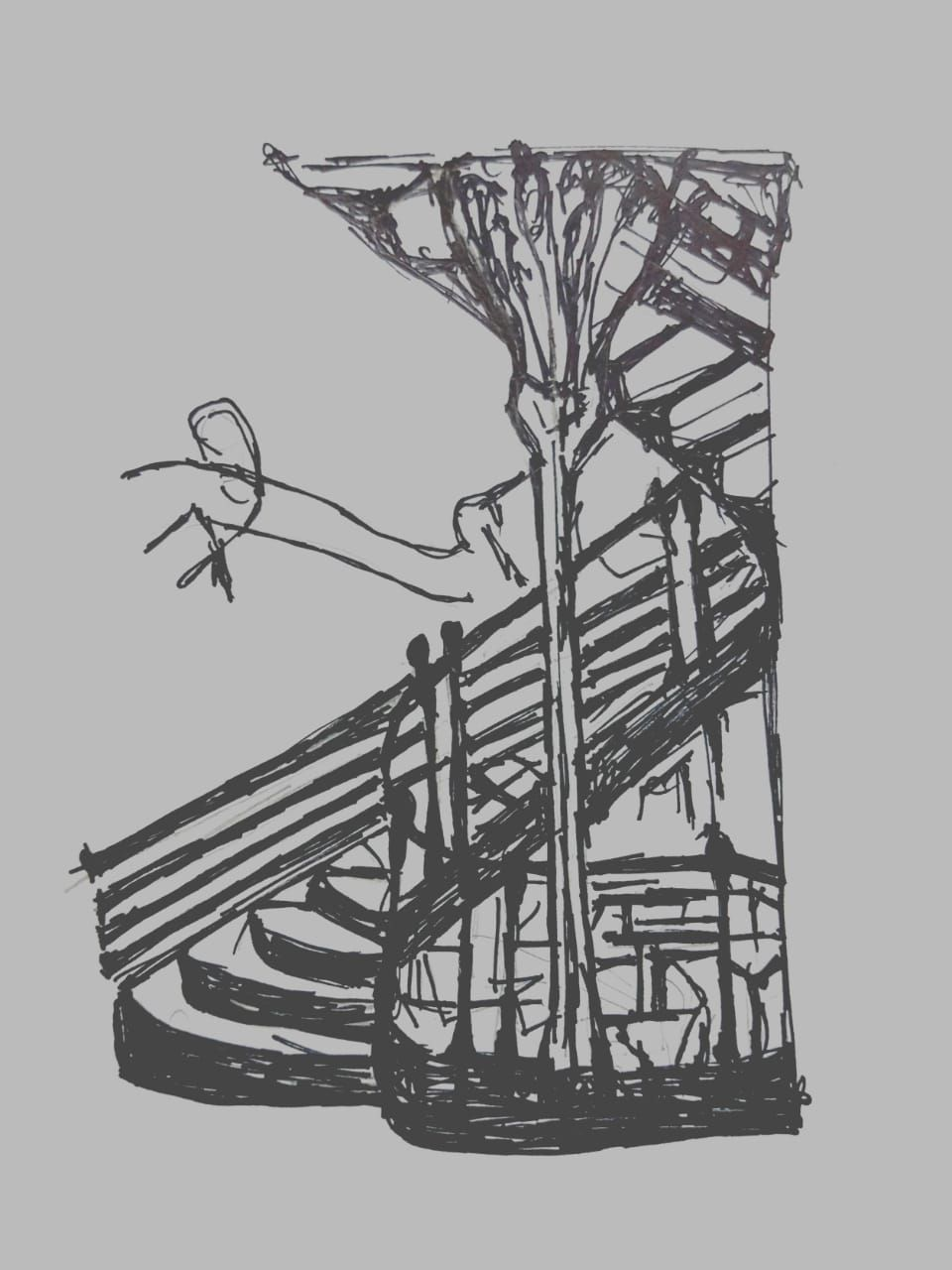 This Sketch Shows The Famous Staircase Of The Hotel Tassel In