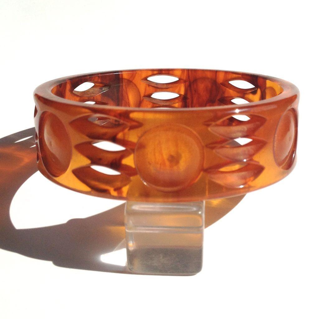 Bakelite Bangle Bracelet with Open Carving