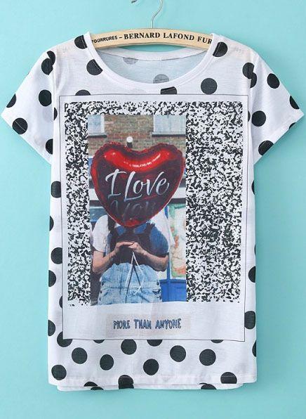 White Short Sleeve Polka Dot Heart Print T-Shirt US$17.00