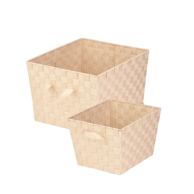 Honey Can Do 2 Piece Lined Woven Basket Set White Basket Sets Storage Baskets Honey Can Do