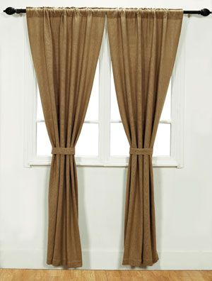 Bestseller! Burlap Natural Panels, 44.99, by Victorian Heart. The Burlap Collection is a soft, cotton woven burlap adding a natural look that coordinates beautiful with almost any decorating style! This is for the curtain Panels. Comes in a set of two panels, including tie backs - each panel measures 84 inches long and 40 inches wide. Measurements includes a 1/2 inch he...