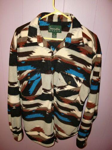 Vtg Scandia Woods South Western Fleece Jacket Shirt Native Aztec ...