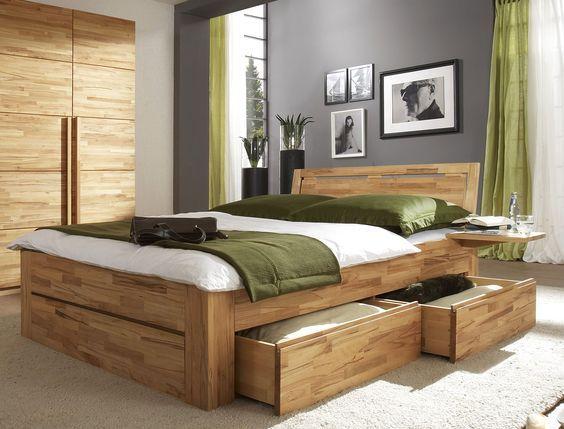 Bett  - schlafzimmer aus massivholz