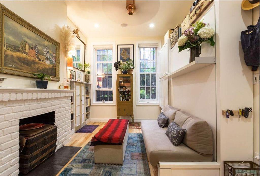 Couple Fills A 242 Square Foot Village Apartment With Brilliant Interior Design Ideas 6sqft Apartment Therapy Small Spaces Small Apartment Therapy Murphy Bed Plans