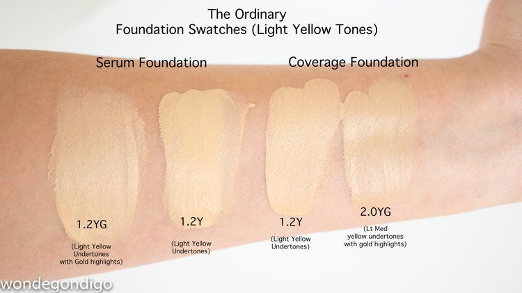 Foundation Swatch Comparison On Light Skin Yellow Undertone Blog Foundation Swatches The Ordinary Foundation The Ordinary Coverage Foundation