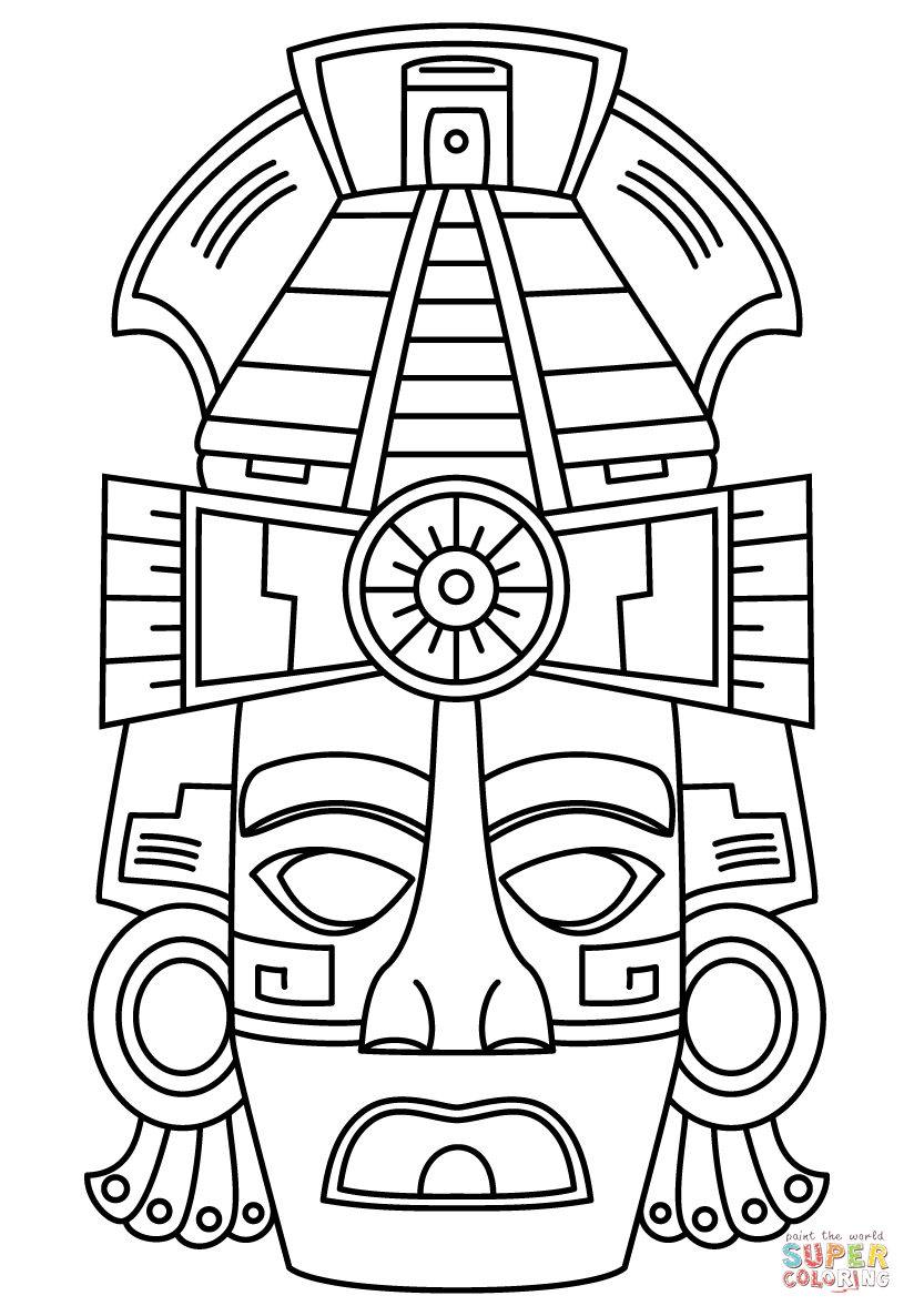 Mayan Face Mask coloring page from