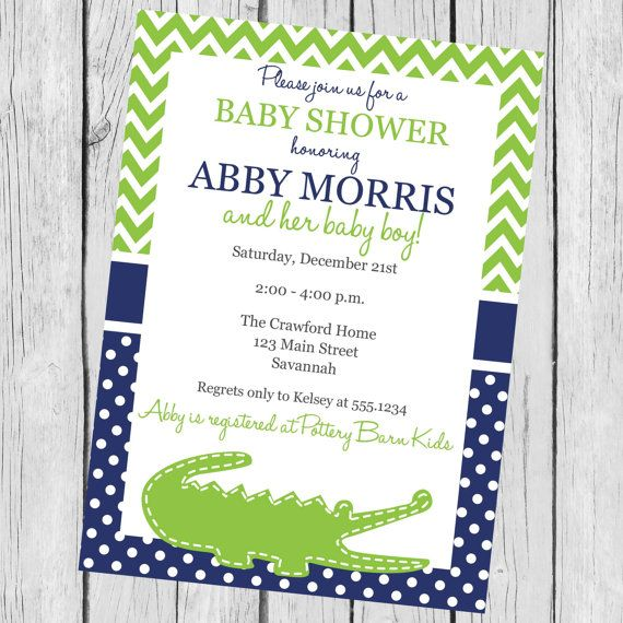 Baby Shower Invitation Alligator By Carouselprintables 12 00