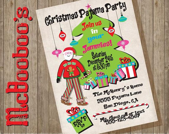 9043b053ea Christmas Pajama Party Invitations with Santa in an Ugly
