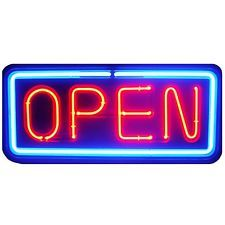 Vintage Fallon Neon Open Sign Red Blue 30 30 Inch Neon Open Sign Open Signs Open For Business Sign