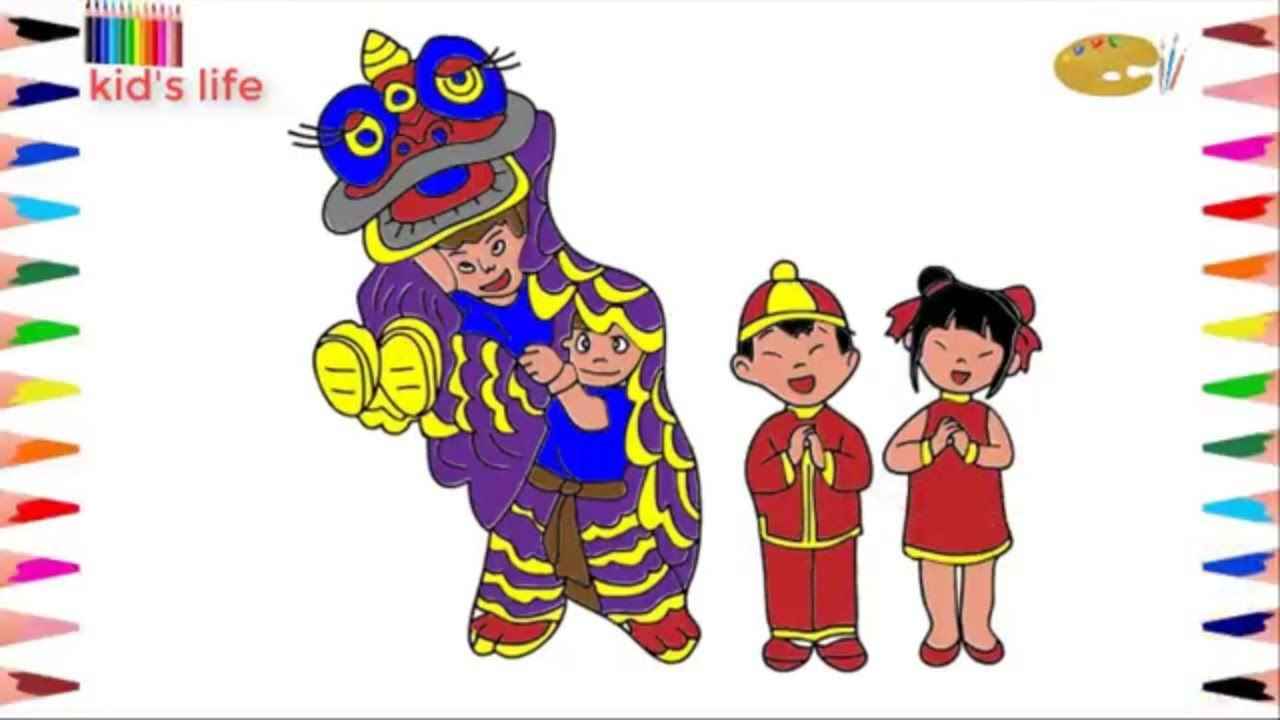 Drawing with kid's life .How to draw lion dance colouring