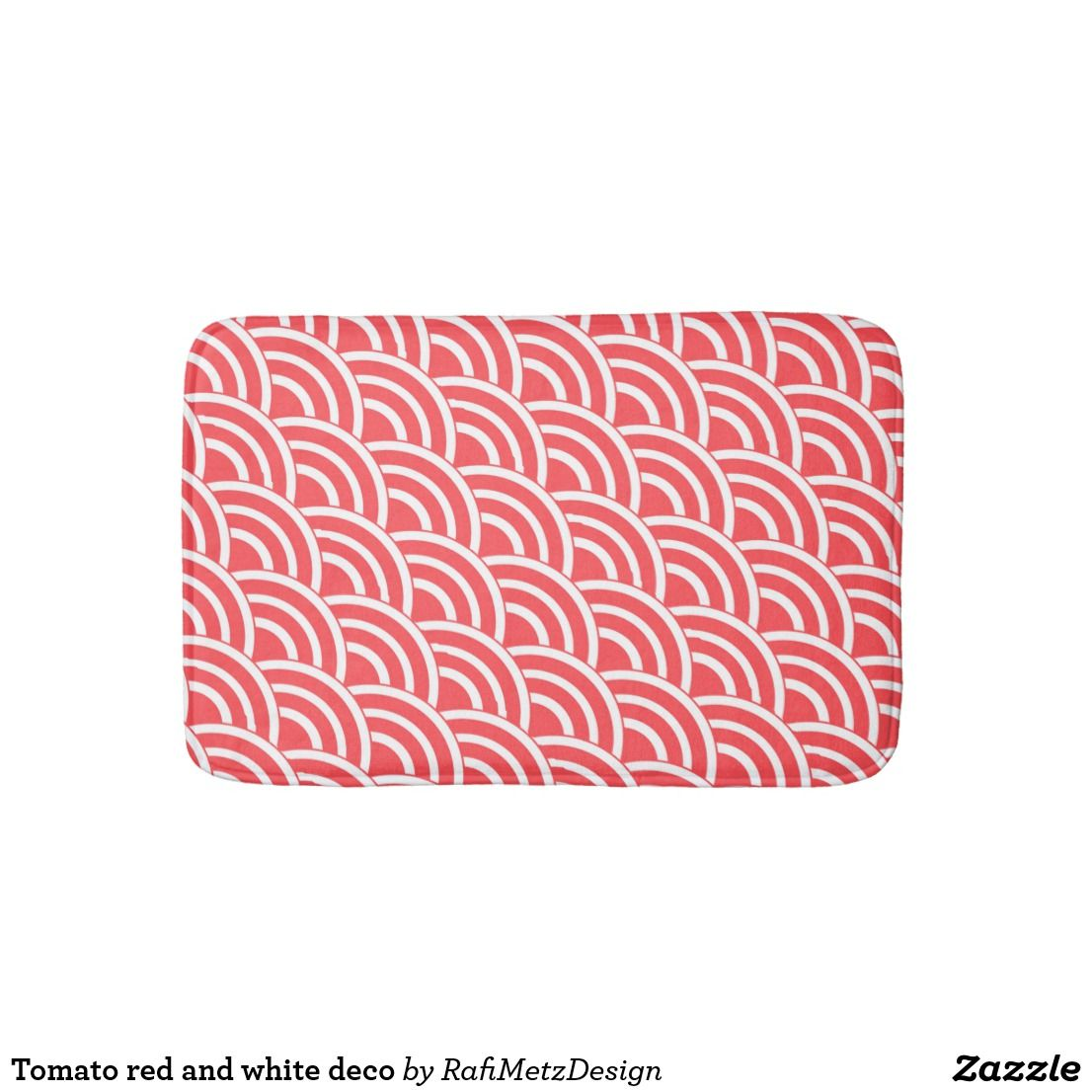 Tomato Red And White Deco Bath Mat Zazzle Com Bath Mats Bath