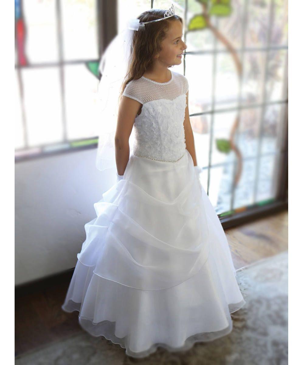 475358e91bb Robe cérémonie fille - robe blanche longue première communion ou mariage  pour fille en satin et organza avec ceinture bijou Made In France
