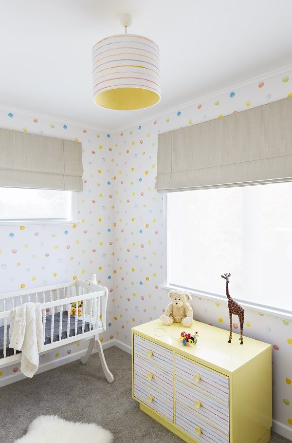Nursery Make Over For Baby Girl Spotted Wallpaper From
