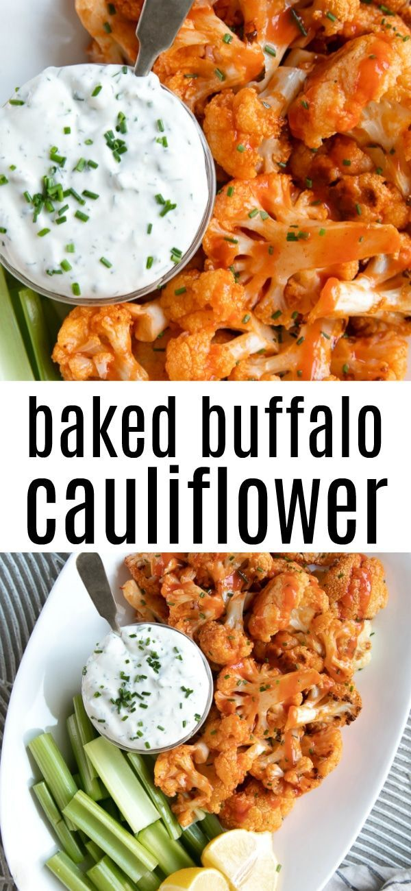 Baked Buffalo Cauliflower Bites #healthyrecipes