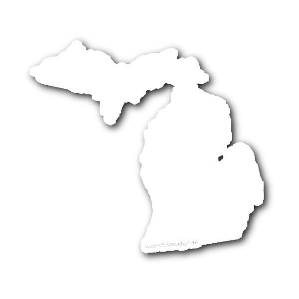 Michigan State Shape Sticker Outline Black Michigan Sticker State Shapes Michigan