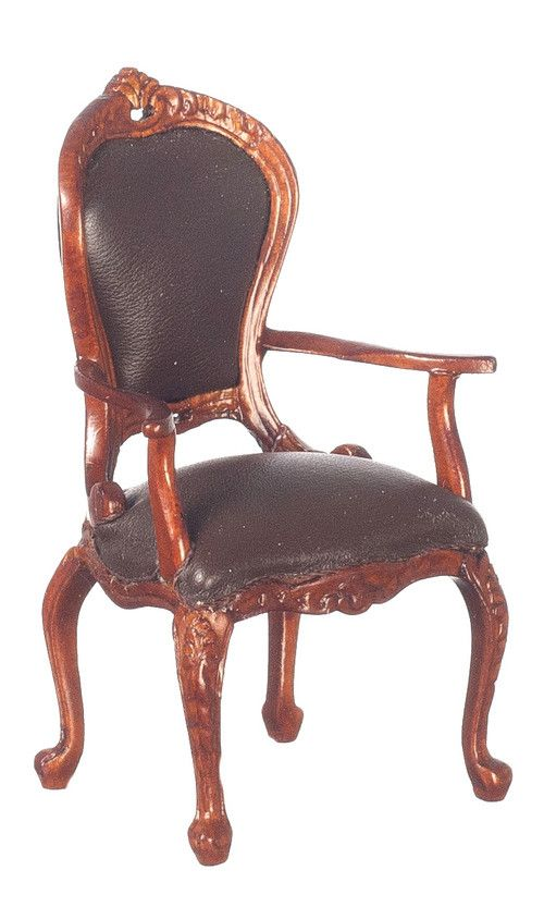 Victorian Brown Leather Armchair - 1:12 Scale