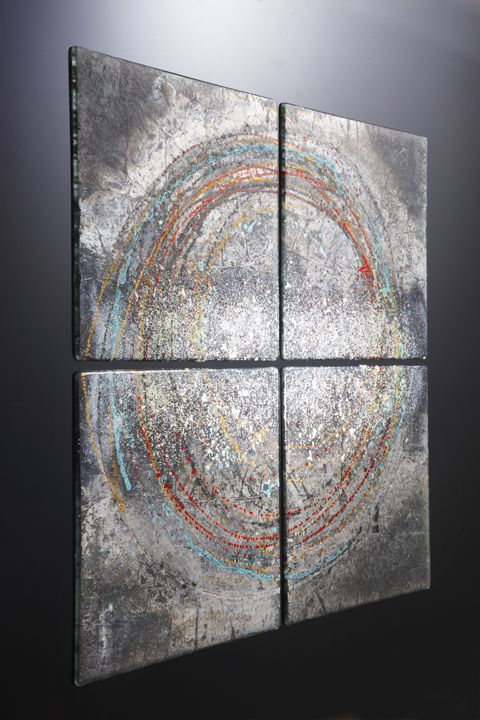Erode Fused Glass Wall Panel Photo By Simon Bruntnell Glass Wall Art Contemporary Glass Painting