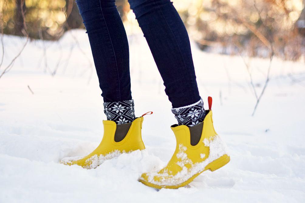 J.Crew socks and SWIMS yellow rain boots