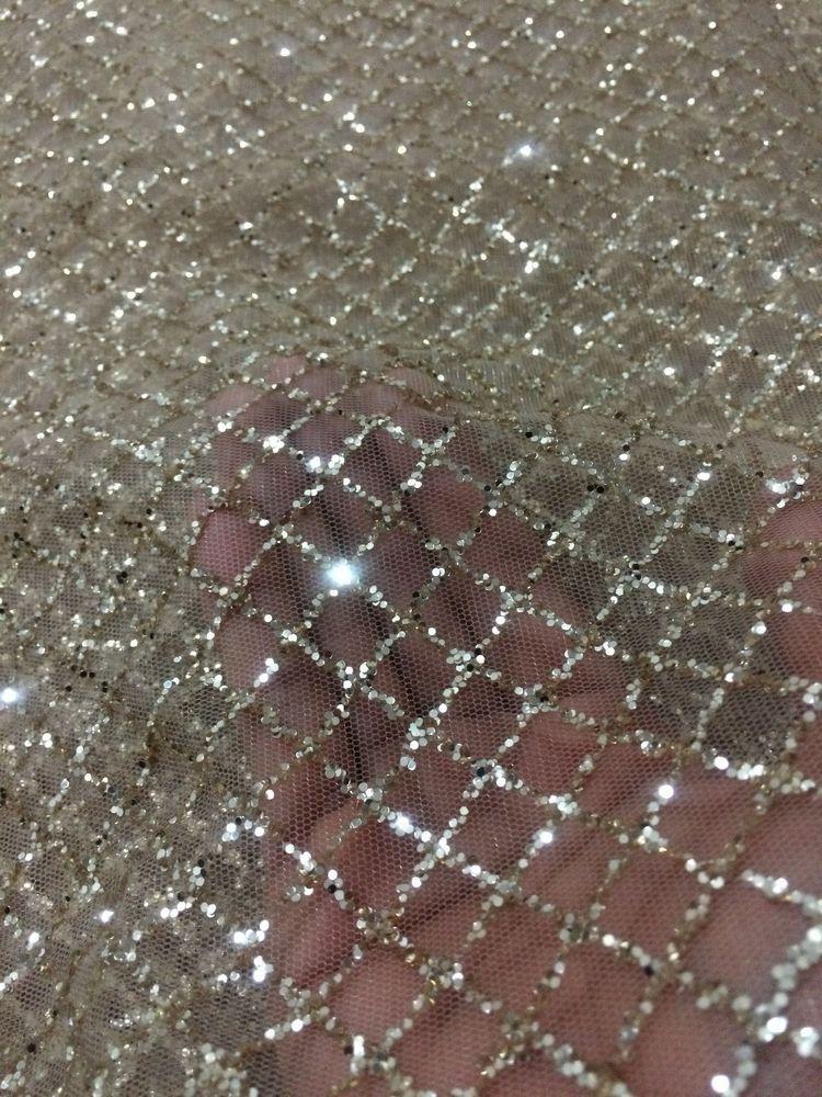 GORGEOUS SPARKLE GLITTER SOFT TULLE BRIDAL DRESS MESH LACE FABRIC  5YDS LOT  #SPARKLEGLITTERTULLESOFTLACE