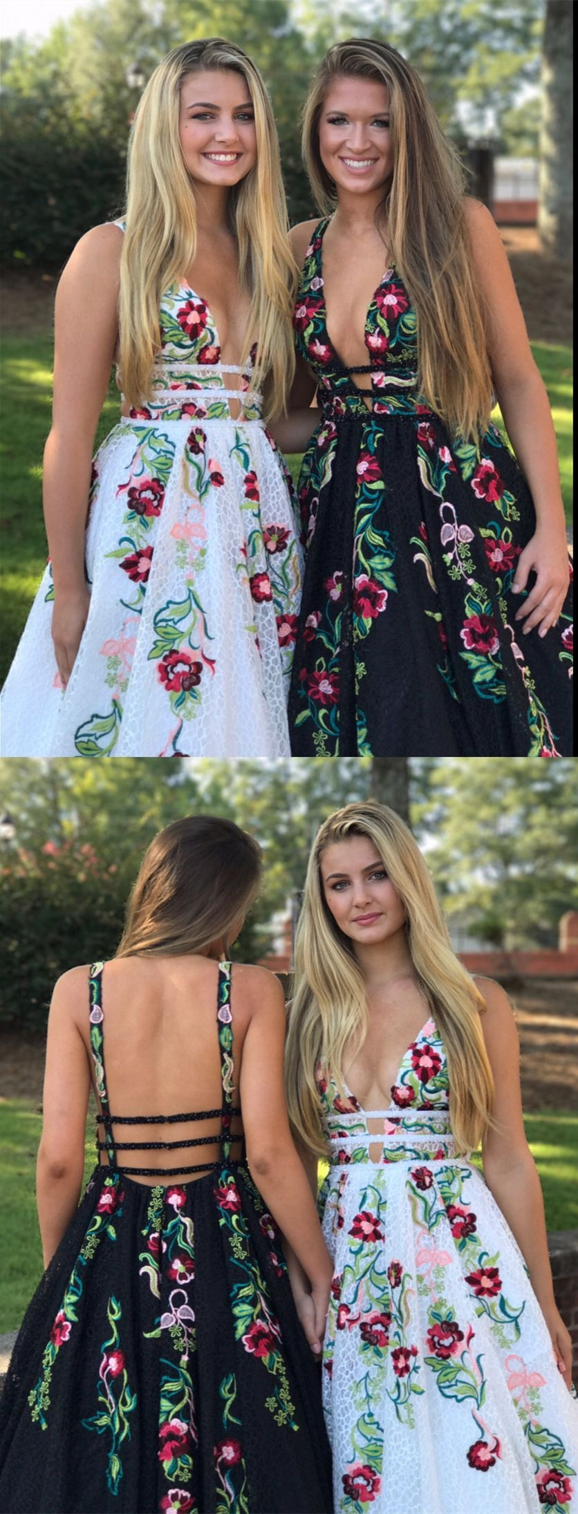 Deep vneck backless white prom dresses with appliques unique