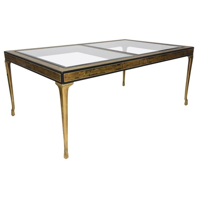 Rectangular Dining Table Brass And Glass By Bernhard Rohne For