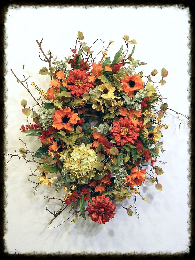 """Pale Gold, Red and Orange Fall Door Wreath        * Item #1161     * 25""""L x 20""""W By:www.sugarcreekhd.com"""