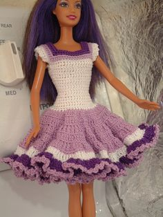 Barbie or 11.5 inch Fashion Doll Lavender Dress by Nanasbeehive on Etsy