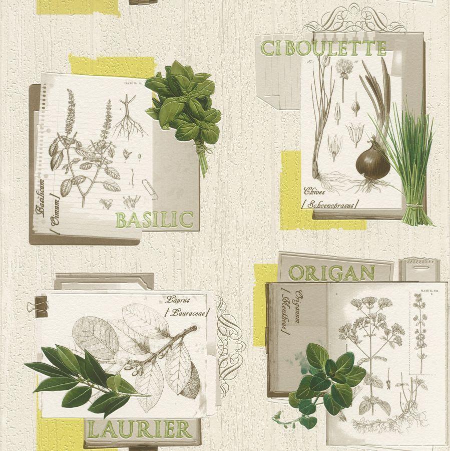 Frisch Rasch Vinyl Papier Tapete Déco Relief 307405 Kräuter Küche grau  UV52