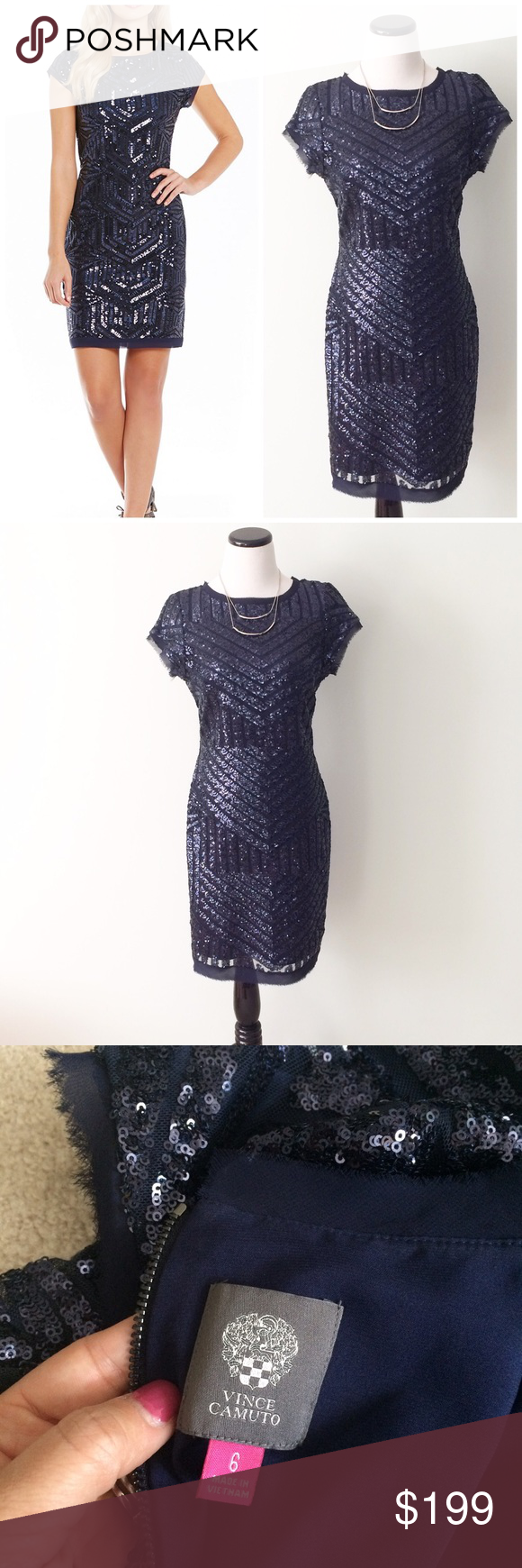 Vince Camuto Blue Sequined Geo Shift Sheath Dress Vince Camuto Geo Shift Sheath Dress In Navy Blue Sequins Worn Once To Clothes Design Fashion Design Fashion [ 1740 x 580 Pixel ]
