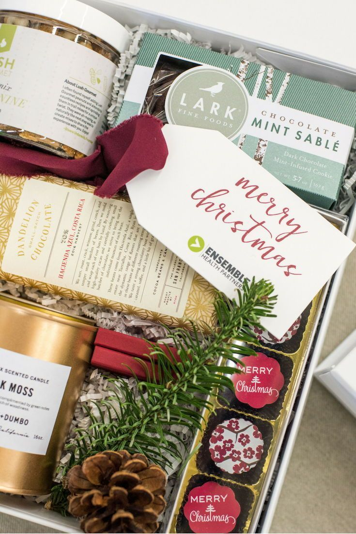Corporate holiday gift boxes red green and gold luxury