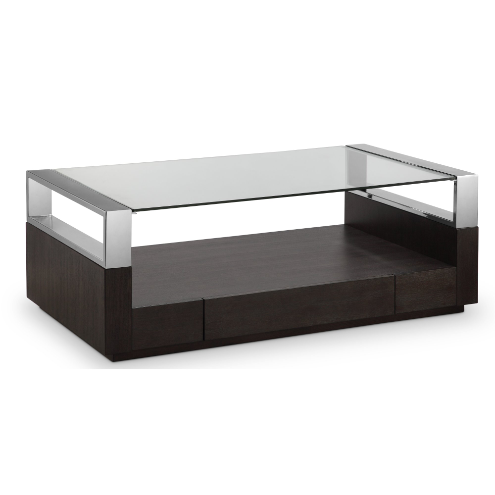 Graphite And Chrome Glass Top Coffee Table Revere In 2020