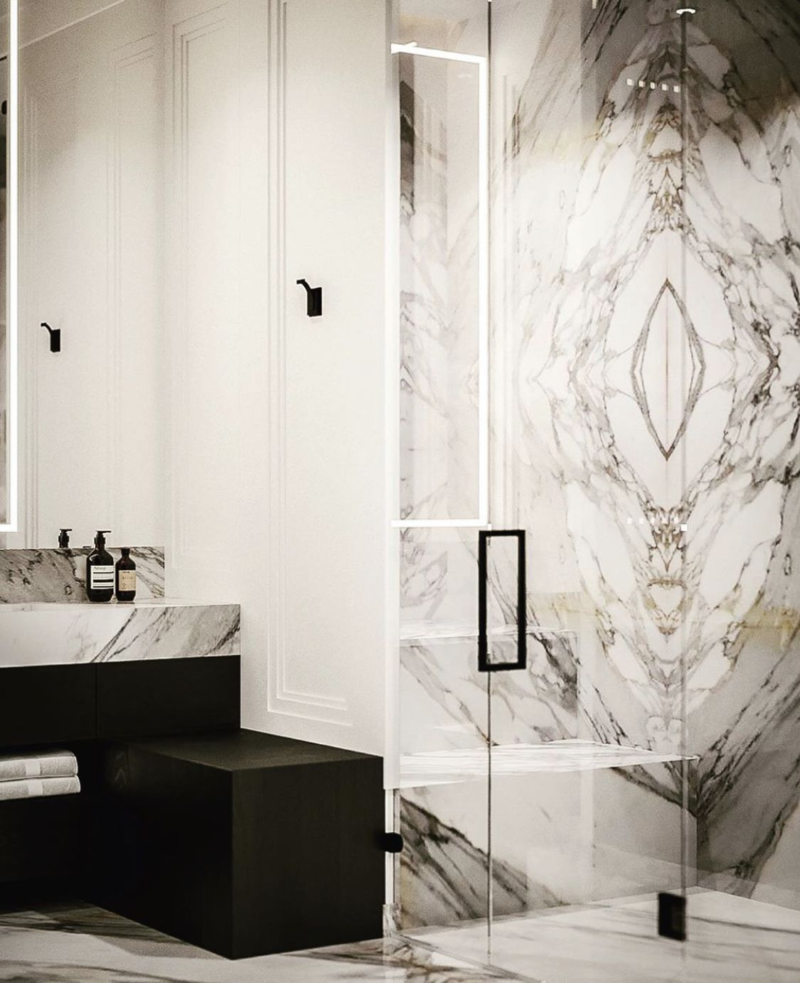 Images from a recently completed project in Copenhagen. Shower wall was bookmatched using Calacatta Borghini Gold Marble and the outcome is amazing 🙌 • • • #calacattamarble #calacattagold #calacattaborghini #calacatta #calacata #carraramarble #marmor #marble #bathroomdesign #badrum #marbleshower #interior #interiordesign #designer #interiordesigner #archilovers #architect #luxurymarble #marbledesign #homedesign #bathroomdecor #bathroomrenovation #bookmatch #homestyle #instahome #instadesign #mo