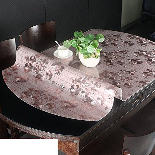 Telescopic Folding Oval Tablecloth,Soft Glass Transparent Table Mat  Pvc,Crystal Waterproof And Hot Plate Plastic Table Cloth L