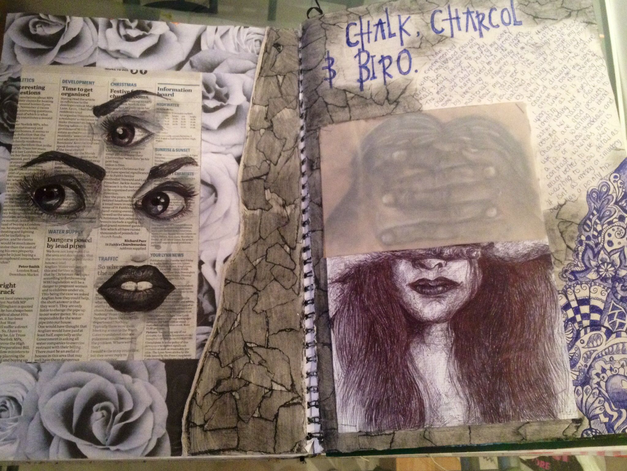 Chalk And Charcoal Amp Biro Drawing Identity Gcse Art