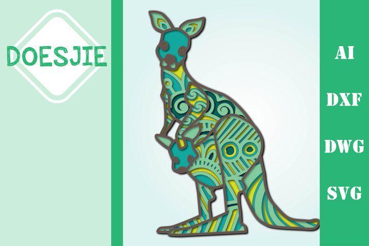 Download Multi layer kangaroo mandala animal