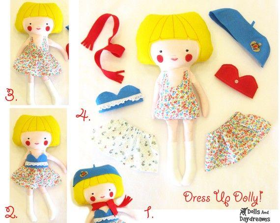 Dress Up Doll Nähen Muster PDF Instant von DollsAndDaydreams ...