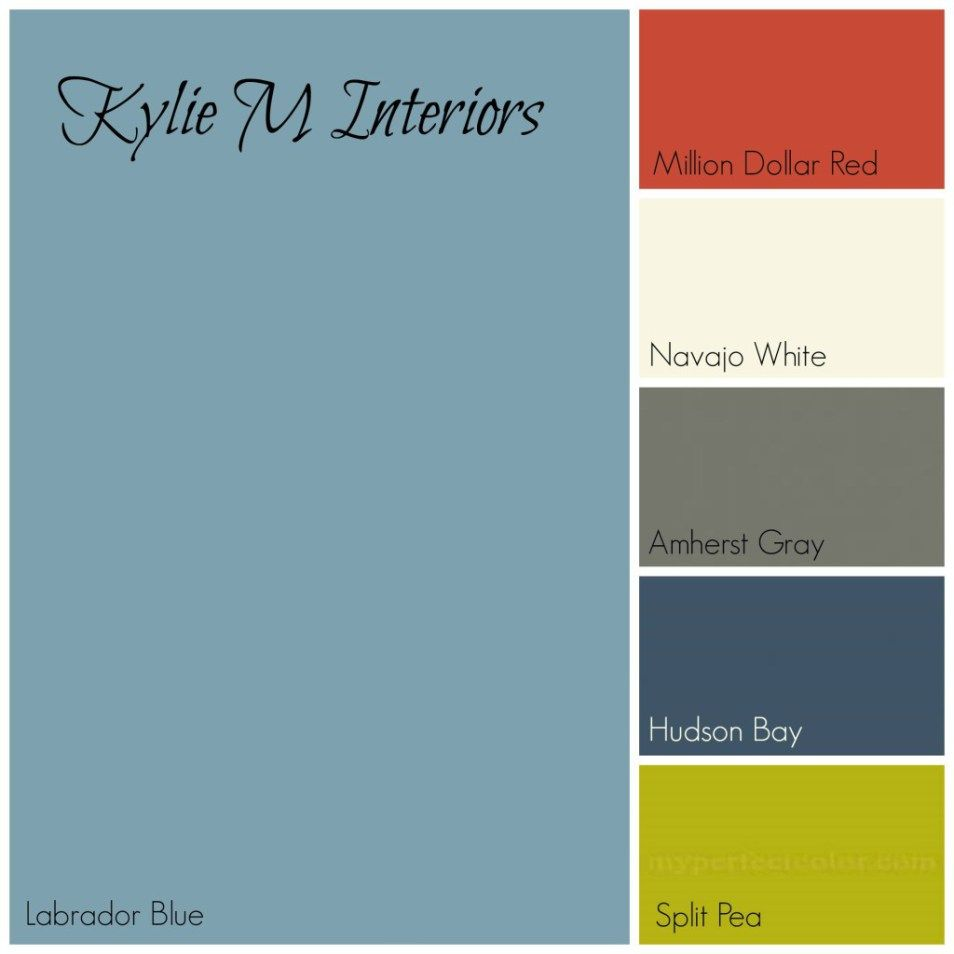 Labador Blue By Benjamin Moore Paint Colour Palette With Red Cream Gray Navy And Green For Boys Room