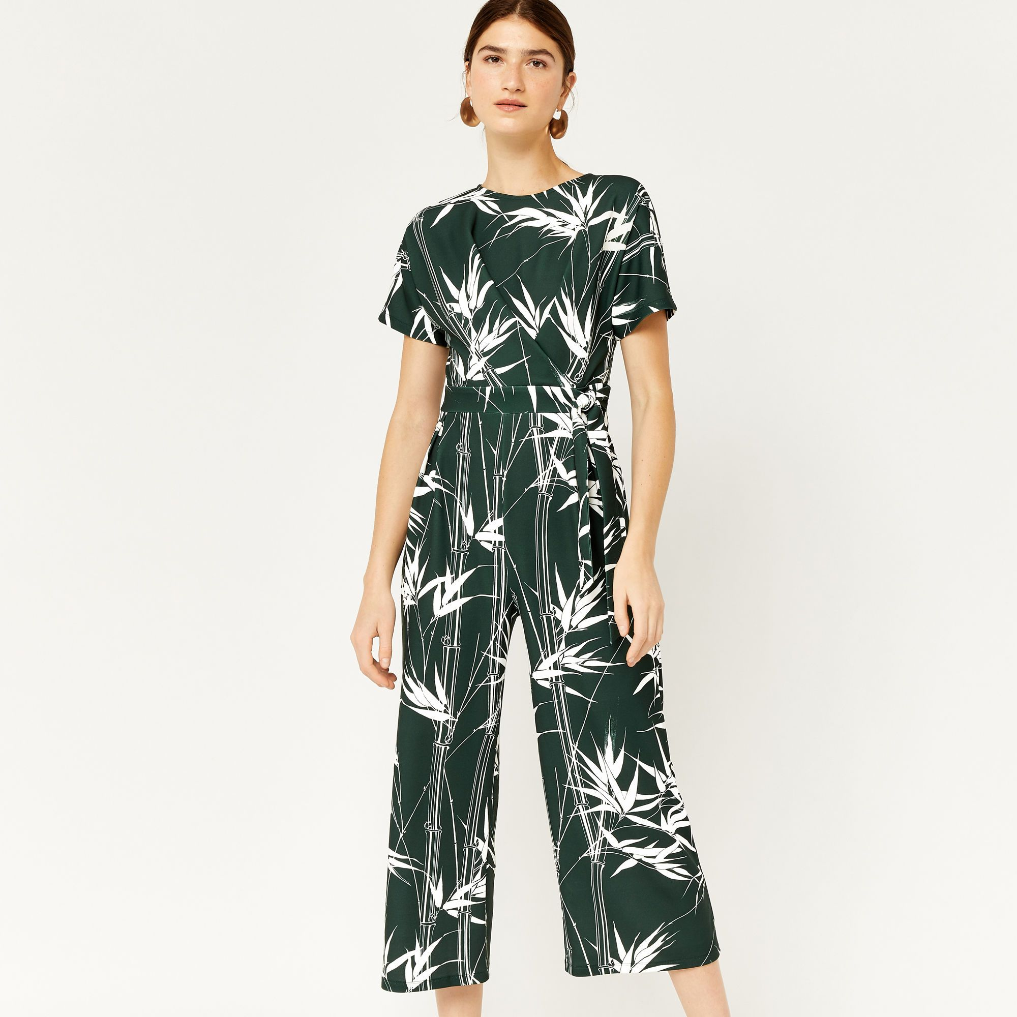 39ec692729cb Climbing bamboo print jumpsuit | WAREHOUSE | Printed jumpsuit ...