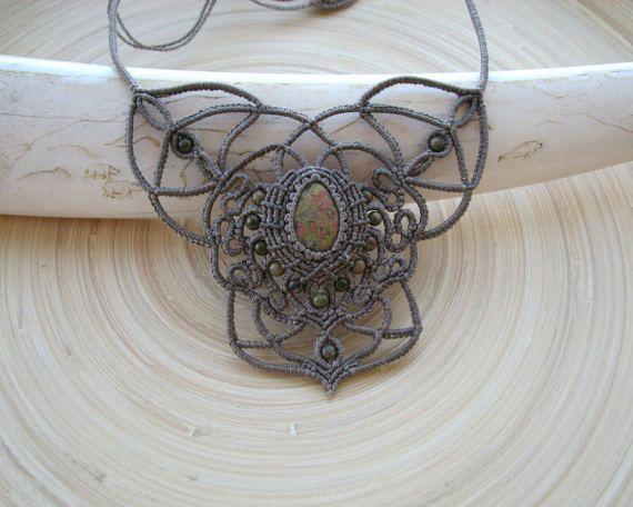 Unakite macrame necklace delicate necklace boho от PieceOfGraceArt