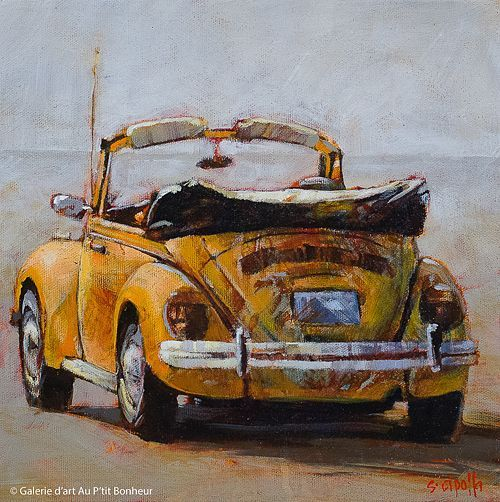 Susie Cipolla,  Wohin jetzt  , 10   x 10 &  39; &  39; is part of Vw art, Art cars, Car painting, Truck art, Violin painting, Watercolor paintings - [ad 1] Susie Cipolla,  Wohin jetzt  , 10   x 10 &  39; &  39;   Galerie d'art   Au P'it Bonheur   Art Gallery