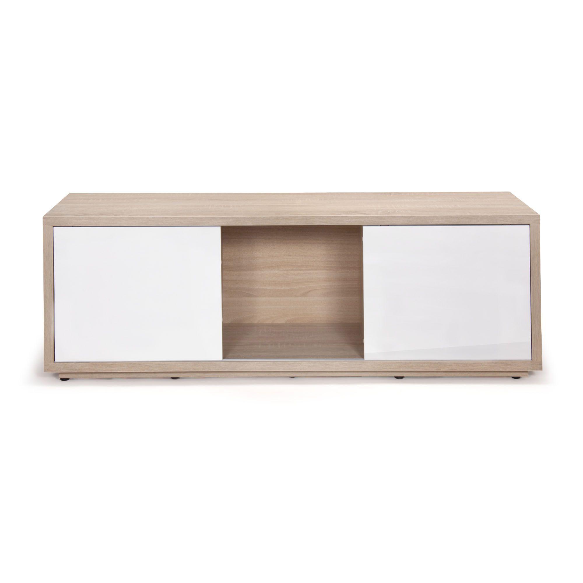 meuble tv design scandinave chene blanc