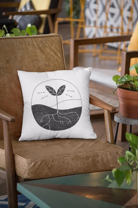 Decorative Pillow: seedling, house plants pillow, black and white, 18x18, plant lover gift, minimali