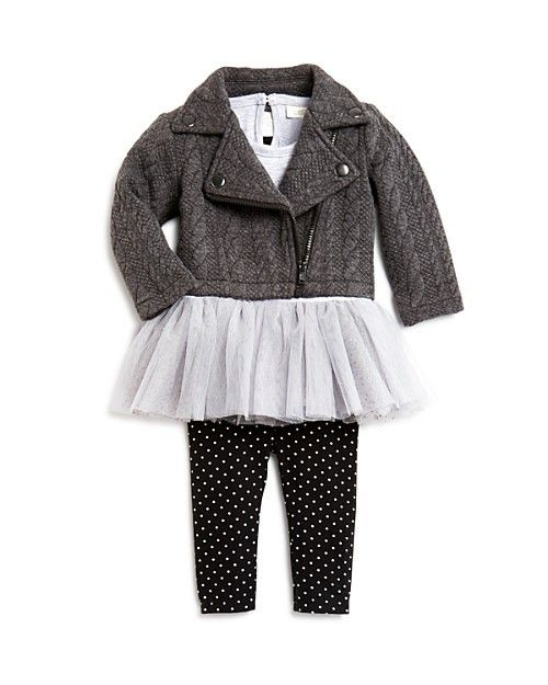 bb1c6f4fbef2 Miniclasix Infant Girls  Cable Knit Moto Jacket