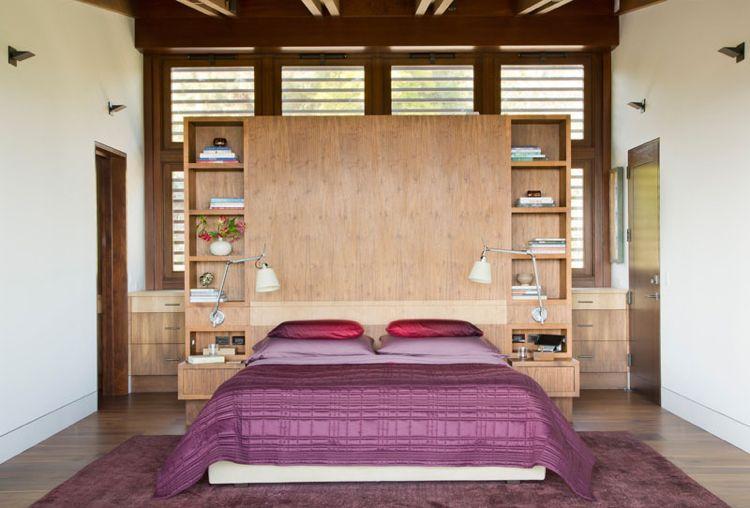 holz schlafzimmer bett kopfteil nachttische konstruktion wandverkleidung house - Bett Mit Kopfteil Des Aquariums