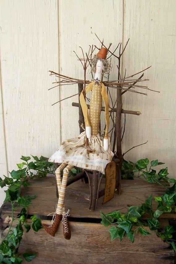 Primitive Folk Art Garden Angel Doll and Rustic Twig Chair ...