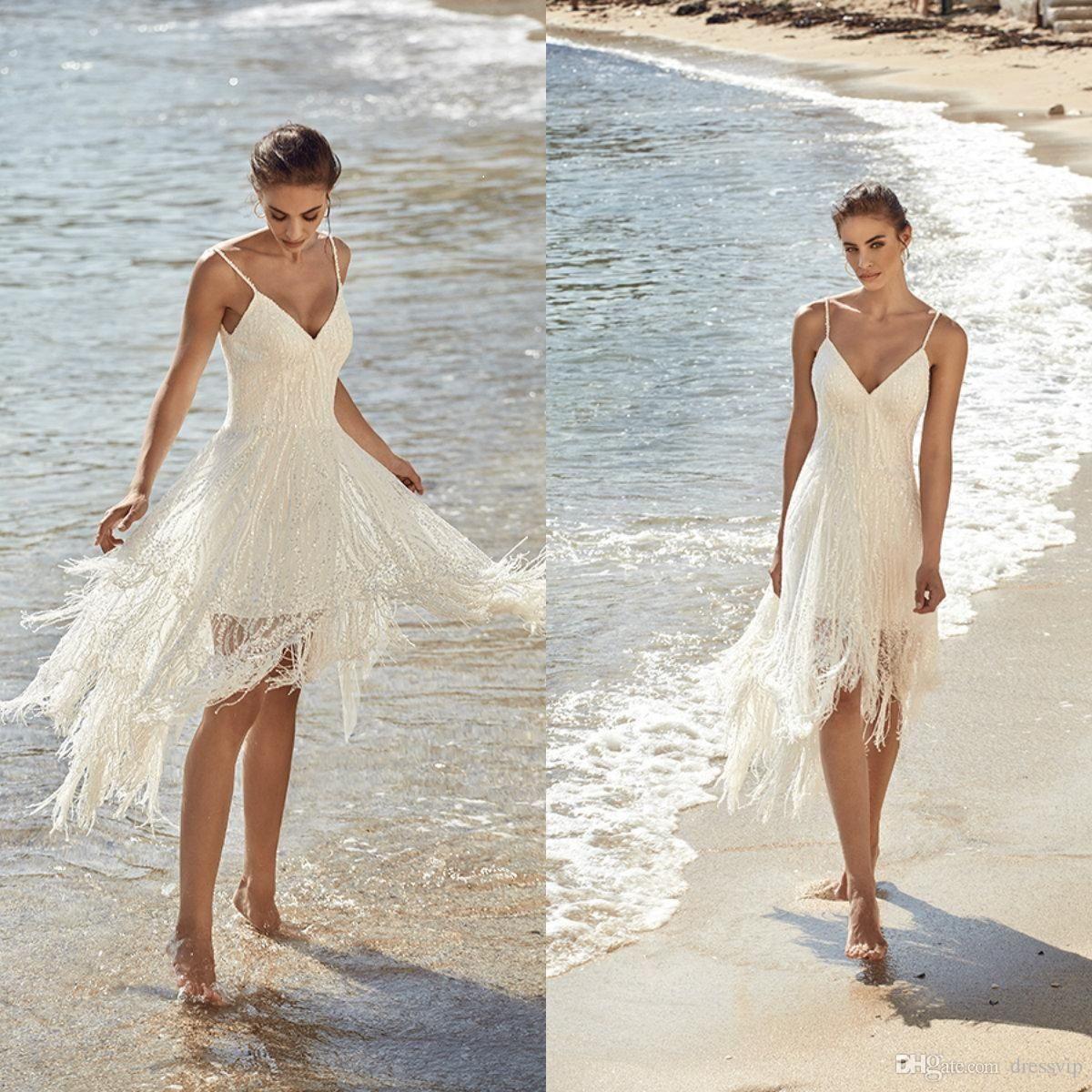 Simple Neckline Beach Wedding Dress In 2020 Simple Wedding Dress Beach Short Wedding Dress Beach Wedding Gown Inspiration