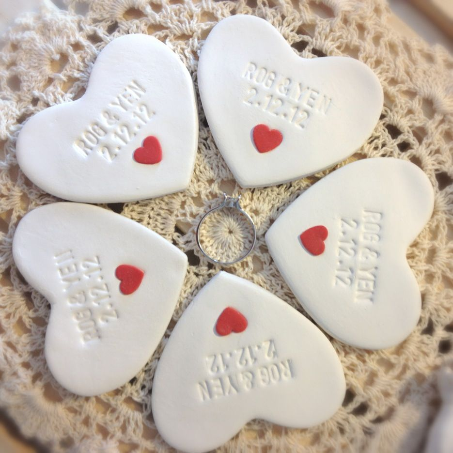CUSTOM- 5pc Wedding Favors Mini Heart Ornament Thank You Gift - Clay ...