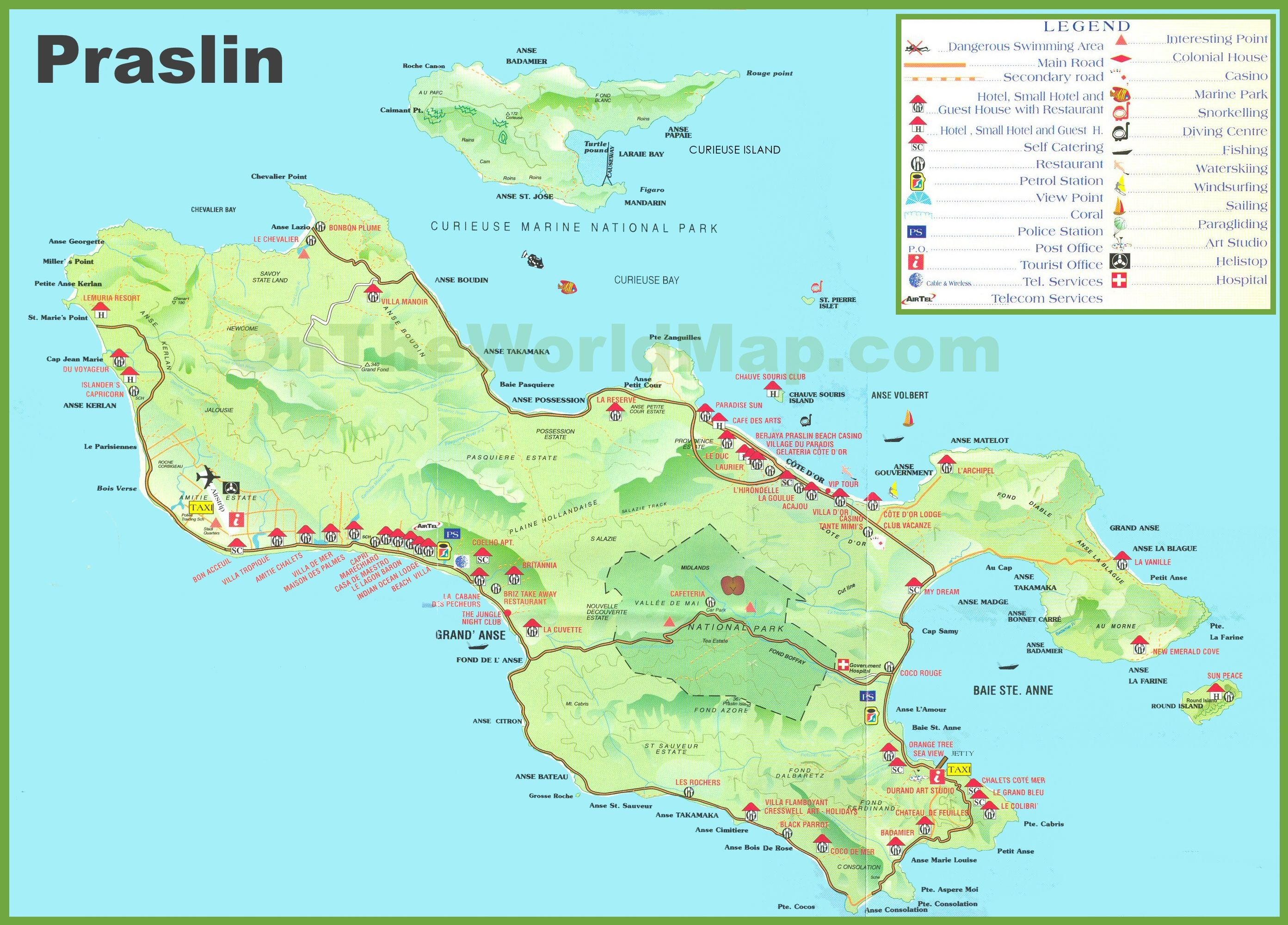Large Detailed Tourist Map Of Praslin Island Been There Done - Map of seychelles world