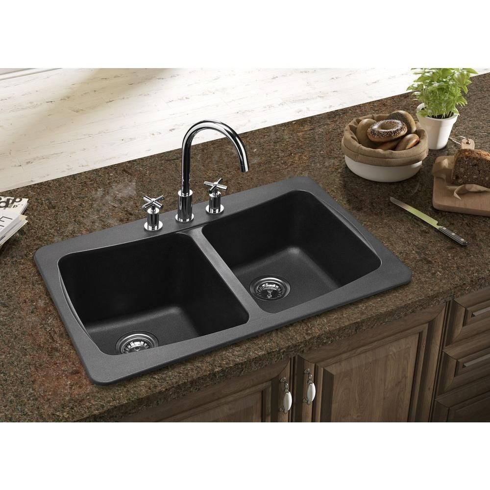 Contemporary Black Granite Kitchen Sinks Double Bowl Mounted